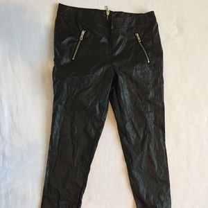 Black Faux Leather Skinny Pants Zippers Sz-M